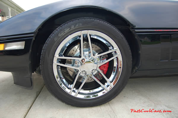 1990 Black Chevrolet Corvette with 2006 Z06 chrome wheels 6 speed